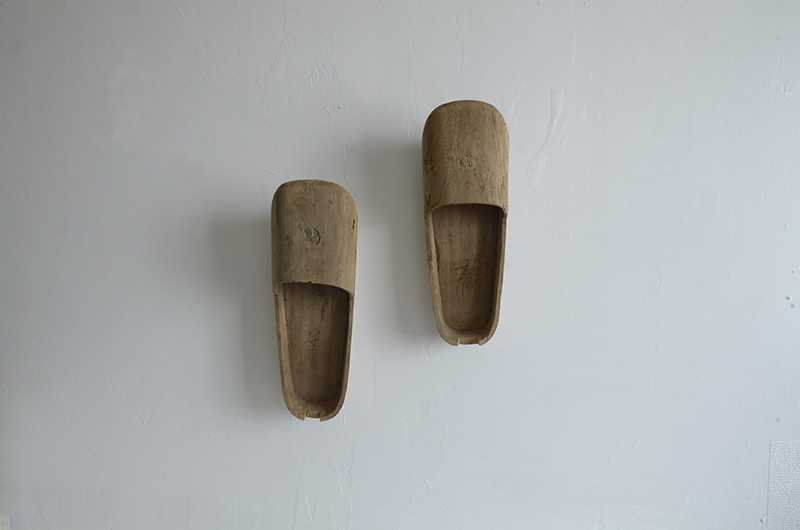Antique Japanese wooden asagutsu shoes of Shinto priest