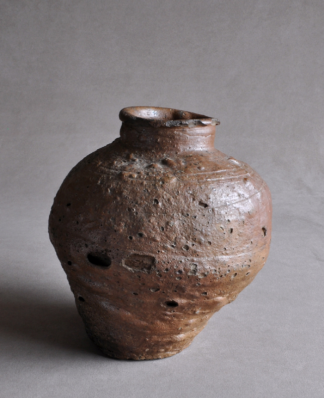 Old Japanese Shigaraki ware jar Edo period